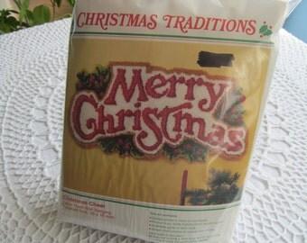 Wonderart Latch Hook Kit Merry Christmas Wall Hanging 35 x 16 Christmas Cheer No. 4545