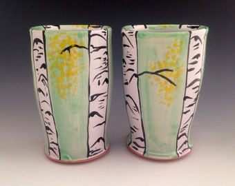 Pottery Tumblers with Aspen Trees. Pair of Cups, 12 oz.