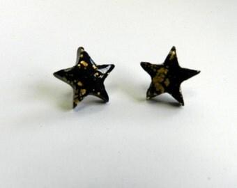 Black Star Stud Earrings Black Star Post Earrings Black Stud Earrings Black Post Earrings Polymer Clay Earrings Hand Made