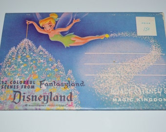 60s Vintage postcard Disneyland booklet 12 Colorful Scenes Fantasyland - book Tinkerbell