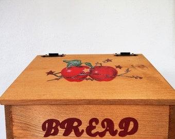 bread box,apple decor,wooden bread box,apple kitchen decor,apple kitchen,storage for bread,bread storage,hand painted apples,primitive decor