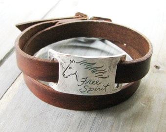 Personalized Fine Silver Horse Link with Double-Wrap Leather Bracelet, Recycled Silver, Engraved by Hand, SilverWishes Original