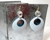 Shabby chic robins egg teardrop Earrings Powder Blue Sale