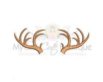 Deer Antlers Machine Embroidery Design - 6 Sizes - Instant Download