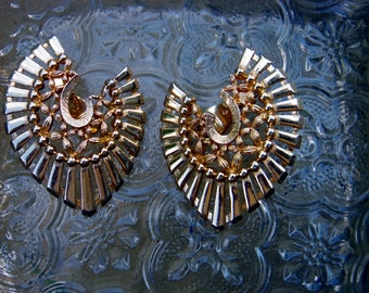 1970's Monet Runway Couture Statement Clip On Earrings High Fashion Book Piece