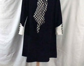 1960s Lady Laura by Toni Todd Black White A Line School Girl Tent Dress with Self Tie Black White Op Art Scarf