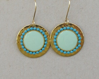 Turquoise  earrings ,unique  hammered gold disk .Gold-filled earwire,Color of fashion.gold circle earrings