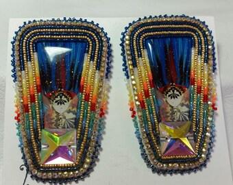 Native American Made Beaded Powwow Fan Earrings