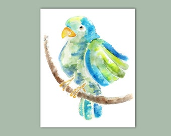 Parrot Picture,Tropical, Bird Watercolor Print of Watercolor Painting, turquoise, teal, Jungle Nursery Art - Pretty Bird, Sweet Puff