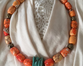 Turquoise and dyed howlite choker