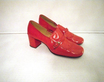 1960s Shiny Red Loafer Heels Shoes