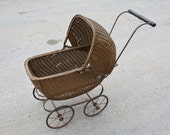 Vintage Wicker Baby Doll Carriage Art Deco Style Gold Buggy Pram