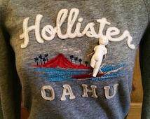 Cracked Hawaiian Baby Surfer Altered Sweatshirt small Hollister