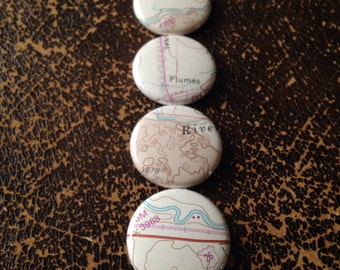 Topographic Maps - 4 Pack - Pinback Buttons, Magnets, Zipper Pulls, Mirrors, Bottle Openers, or Ornaments