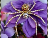 Beaded Christmas  Spider Ornament in Gold Bugle Beads and  Silver Seed Beads