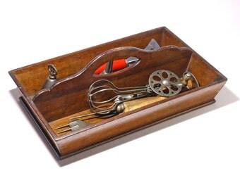 Vintage Wooden Utensil Cutlery Tray, Storage Organizer, Wood Carrier Tray - circa 1940's