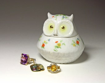 Vintage Lefton Owl Trinket Jar - circa 1970's