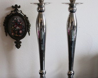Large Silver Candle Stick Holders
