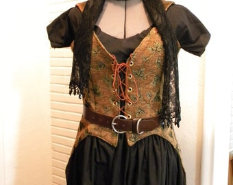 Pirate/Steampunk inspired Vest Corset laced front with split tails CLEARANCE