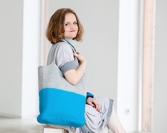 Summer handbag, felt tote bag, turquoise handbag, fashion handbag, comfortable tote bag, Ready to send