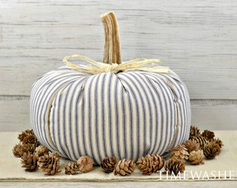 Fabric Pumpkin-Farmhouse Pumpkin-Ticking