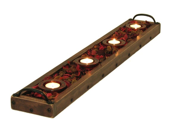 Candle tray centerpiece holder table by bridgewoodplace
