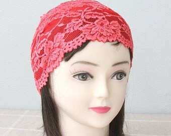 Coral red lace headband adult headband woman wide headbands for women yoga headband workout headband gift for her strech headband