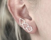 Geometric Statement Ear Climber - Sterling Silver - ONE EARRING