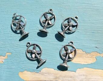 5PCS - Fan Charms - Antique Silver - 20x13mm - N1