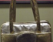 Sale Valentines 1960s or 1970s Gold and Silver Metalic Handbag, Purse, 2 handles, #39293