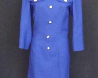 Sale Valentines 1970s 3/4 Sleeve Wool Dress, Royal Blue, Size S/M  #25811