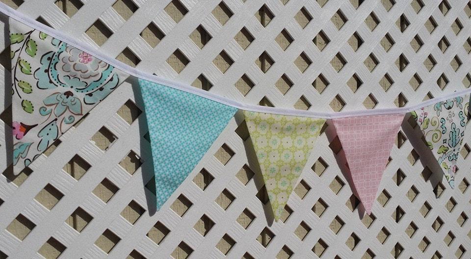 Love bird nursery fabric banner dena designs nursery pink for Bird nursery fabric