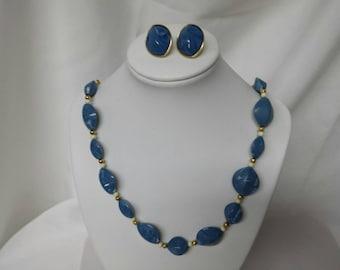 Avon Mediterranean Pierced Earrings and Necklace  1986 Capri Blue