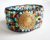 Wide Cuff Leather Wrap Cuff Czech Glass Bracelet Cowgirl Special Southwest Jewelry