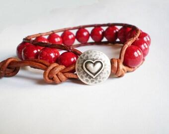 Red Bracelet Heart Jewelry Leather Wrap Cuff Bracelet