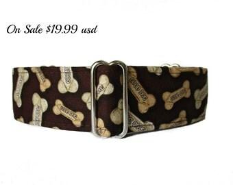 Dog Bone Dog Collar, Wide Dog Collar, 1.5 Inch Martingale Collar, Greyhound Collar, Brown Dog Collar, Whippet Collar, Made in Canada