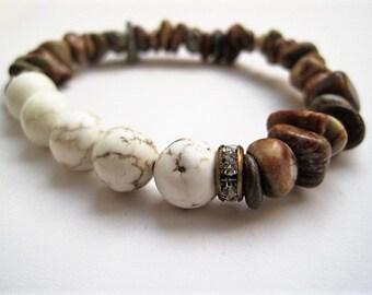 Aqua Terra Jasper & White Turquoise Bracelet / Stone Stacking Bracelet