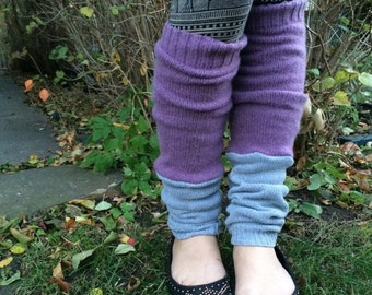 MD Sale Eco Leg Warmers, sweater knit leg warmers, hippie leg warmers, boho, reversible leg warmers, patchwork leg warmers, lilac and gray,