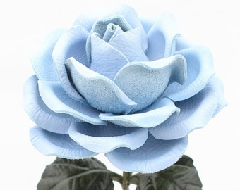 Leather Rose Baby Blue Leather Flower Large Third Wedding Stem Leather Flower Valentine's Day 3rd Leather Anniversary Anniversary Gift