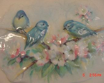 Vintage Blue Birds Spring Porcelain Picture   16 - 419