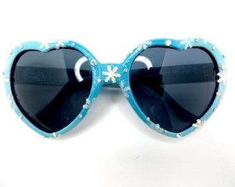 Turquoise Aqua Blue Disney Frozen Inspired Queen Elsa Heart Sunglasses With Snowflakes and Rhinestones