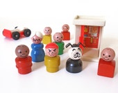 Vintage Fisher Price Dog, People, Phone Booth and Car