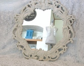 Ornate Round Mirror, Vintage Antique White Wall Mirror, Large Shabby Chic Mirror