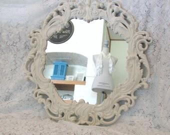 Ornate Round Mirror, Vintage Antique White Wall Mirror, Large Shabby Chic Mirror