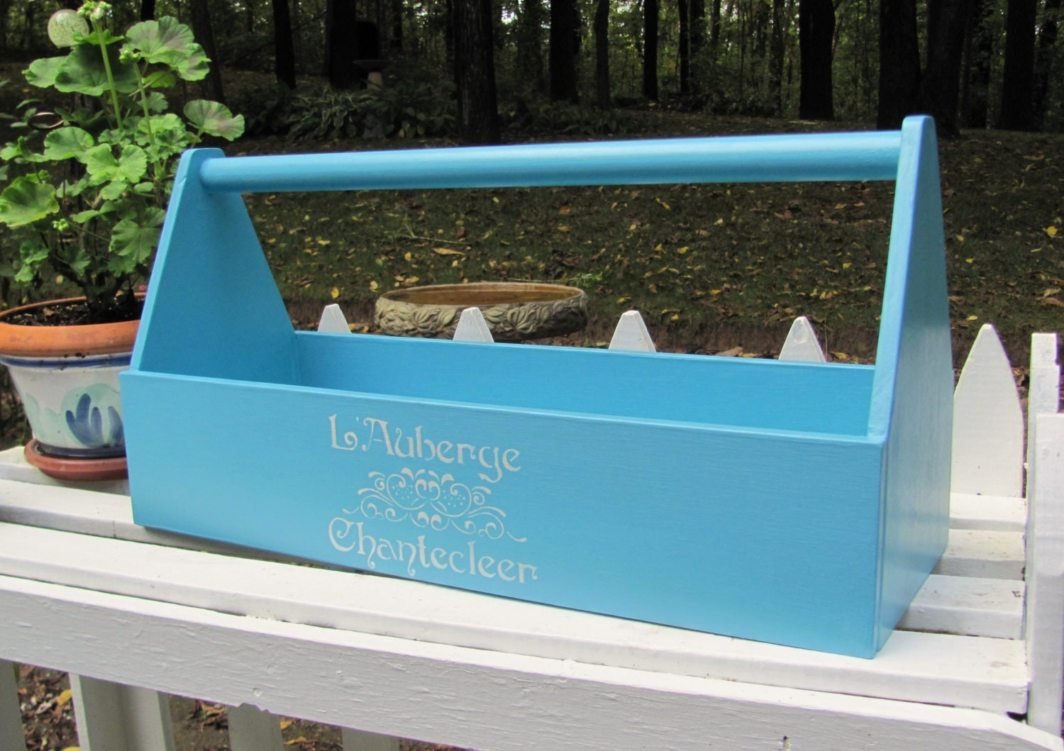 wood tool box tote aqua wooden garden caddy tote french