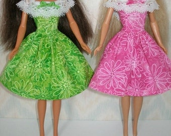 """Handmade 11.5"""" fashion doll clothes - your choice of green or pink floral dress with white lace trim"""