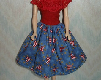 """Handmade 11.5"""" fashion doll clothes - red and blue flag dress"""