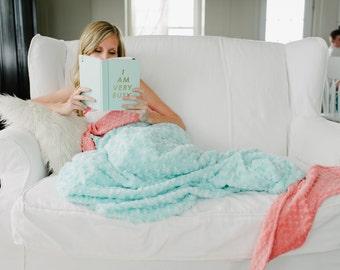 Adult Mermaid Tail Blanket- Teen Mermaid Blanket - Child Mermaid Tail- Mermaid Bedding- Adult Mermaid- Adult bedding- Ships Today