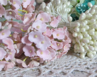Vintage Velvet Flocked Millinery Flowers-Bunch-Mixed Media-Altered Art-Corsage-Supplies-Pink