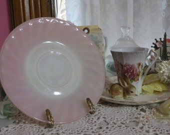Vintage Fire King Pink Swirl Saucer-Mint